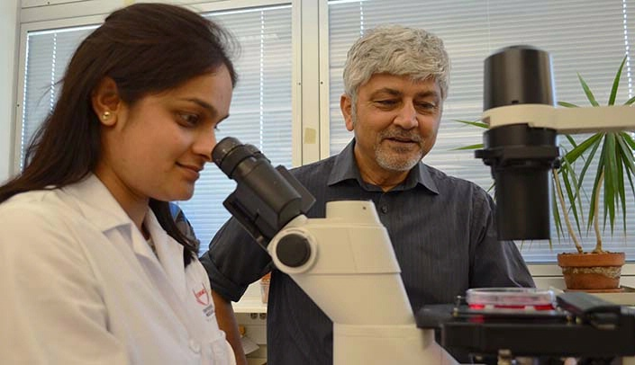 Image with caption: Postdoctoral scholar Pooja Teotia, Ph.D., and Iqbal Ahmad, Ph.D., a professor in the department of ophthalmology and visual sciences.