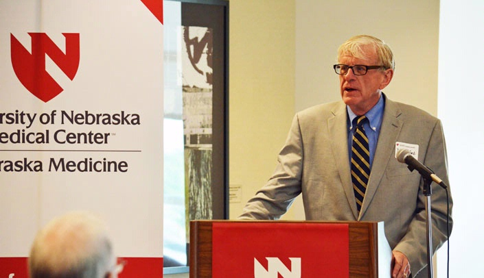 Image with caption: Congressman Brad Ashford spoke at UNMC Wednesday.