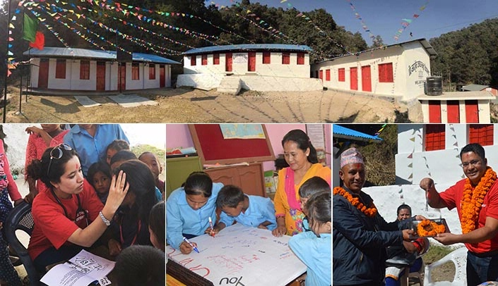 Image with caption: Images from Nepal: Clockwise from top, the completed school; UNMC's Atul Rayamajhi, right, hands over the key to the school to the principal, Ram Krishan Gotame; children make a