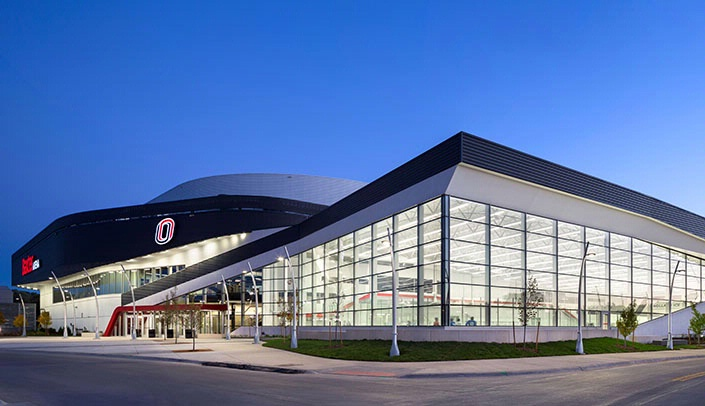 Image with caption: The University of Nebraska at Omaha's Baxter Arena.