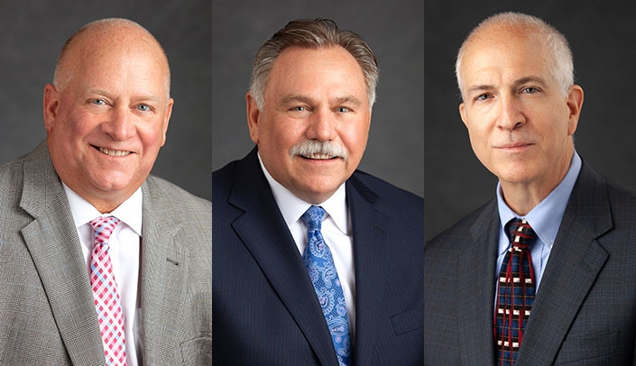Image with caption: New board members include, from left: David W. Mercer, M.D., Eric Keen and Mark Rupp, M.D.