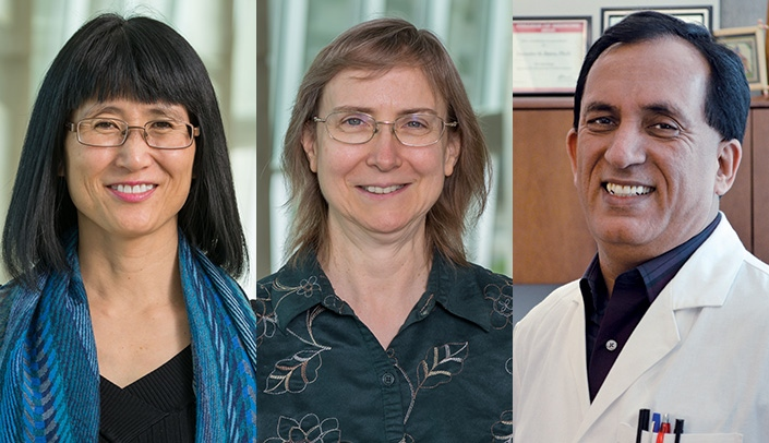 Image with caption: From left, Shinobu Watanabe-Galloway, PhD, Joyce Solheim, PhD, and Surinder Batra, PhD, have been named associate directors at the Fred & Pamela Buffett Cancer Center.