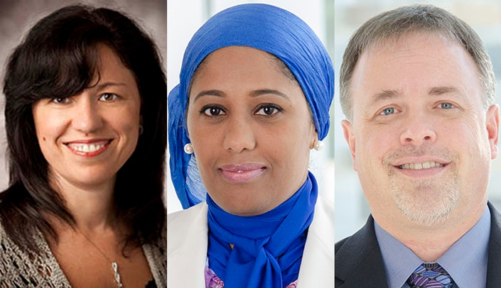 Image with caption: From left, Diana Florescu, MD, Nada Fadul, MD, and Richard Starlin, MD, will speak at the Jan. 19 Science Cafe.