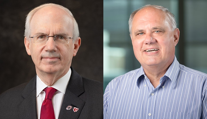 Image with caption: From left, Chancellor Jeffrey P. Gold, MD, and Ted Cieslak, MD, interim executive director for health security, will speak at today's forum.