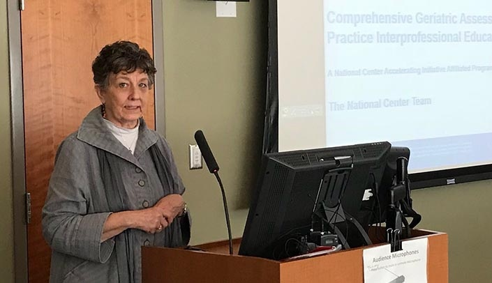 Image with caption: Barbara Brandt, Ph.D., director of the National Center for Interprofessional Practice and Education, served as one of the site visit facilitators.