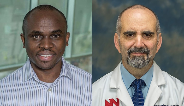 Image with caption: From left, Benson Edagwa, Ph.D., and Howard Gendelman, M.D., led the research team that produced the study published in