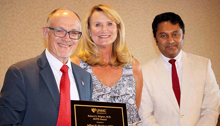 Image with caption: From left: Jeff Harrison, M.D., Vicki Hamm, and Chandra Are, M.D.
