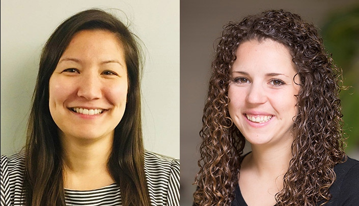Image with caption: From left, Elizabeth Preas and Alethea Chiappone, UNMC's 2019-2020 recipients of the Buffett Institute Graduate Scholars Fellowship