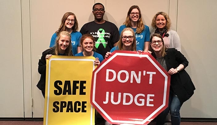 Image with caption: Wayne State College students learned about mental health at a recent forum held on the Wayne State campus through the UNMC Rural Health Education Network.