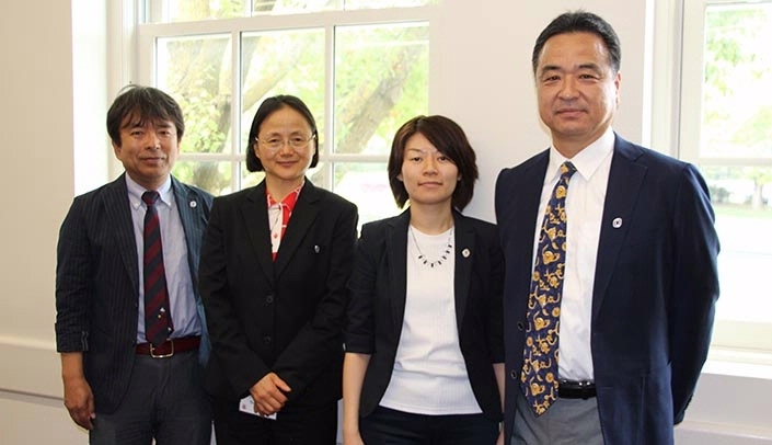 Image with caption: From left, Dr. Susumu Yamauchi, professor of tax law & accounting, Dr. Namiko Segawa, professor of biochemistry and epidemiology, Professor Keiko Yanagi, lecturer with the faculty of law, and Dr. Junichi Watanabe, professor of economics