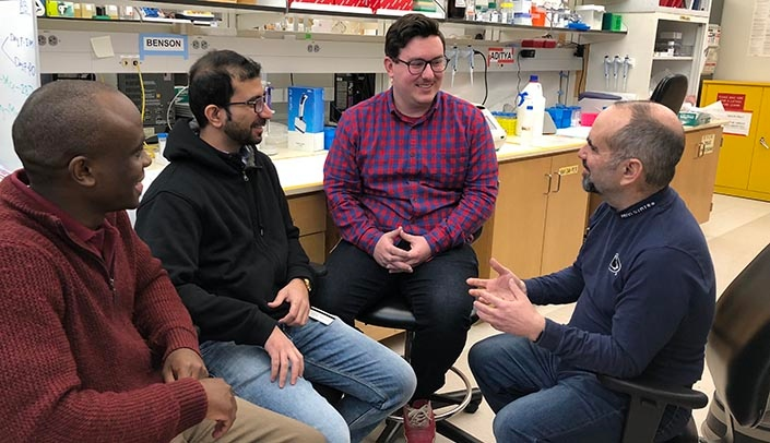 Image with caption: The four key researchers on the breakthrough that could eventually lead to an HIV cure were (left-right) Benson Edagwa, Ph.D., Aditya Bade, Ph.D., Brady Sillman, and Howard Gendelman, M.D.