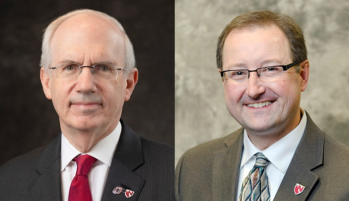 Image with caption: From left, UNMC Chancellor Jeffrey P. Gold, M.D., and Chris Kratochvil, M.D., executive director of the Global Center for Health Security at UNMC and Nebraska Medicine