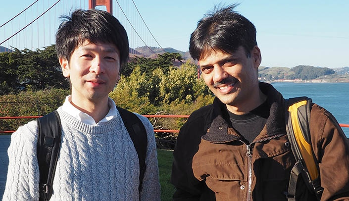 Image with caption: From left, Masato Ohtsuka, Ph.D., and UNMC's Channabasavaiah Gurumurthy, M.V.S.C., (D.V.M.), Ph.D.