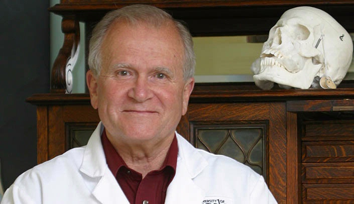 Image with caption: Stan Harn, Ph.D., is the curator of the UNMC College of Dentistry's Dental Museum.