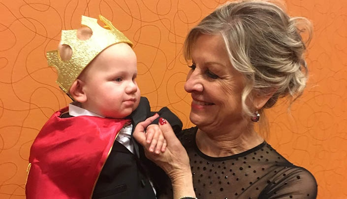 Image with caption: Grandson Abel and UNMC's Jolene Wees