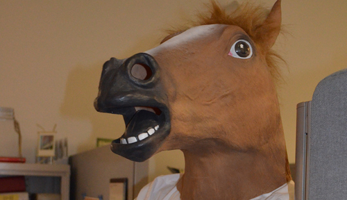 Image with caption: It's the costume contest finals! Vote 'til you're HOARSE!