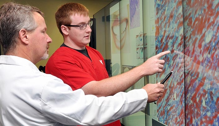 Image with caption: James K. Wahl, III, Ph.D., professor in the UNMC Department of Oral Biology, and Cameron Aitken, second-year dental student, utilize the College of Dentistry's new iWall. Photo by Peggy Cain.