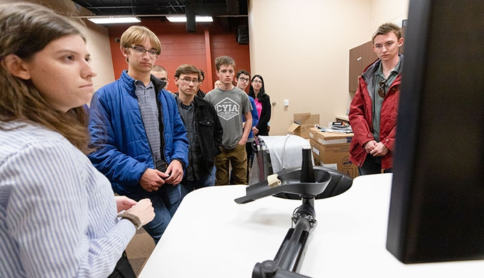 Image with caption: Students attend the 2019 3D Invent-a-thon, sponsored by the UNMC McGoogan Library of Medicine and presented by the Nebraska Science Festival.