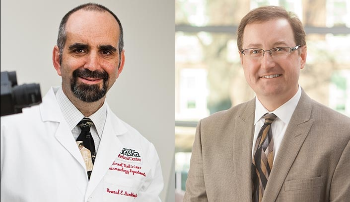 Image with caption: From left, Howard E. Gendelman, M.D., and Chris Kratochvil, M.D., will oversee the UNMC Global Virus Network Center of Excellence.