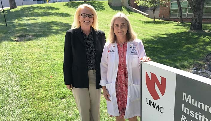 Image with caption: From left, Ann Mangiameli of Legal Aid of Nebraska and Cindy Ellis, M.D., of the Munroe-Meyer Institute.
