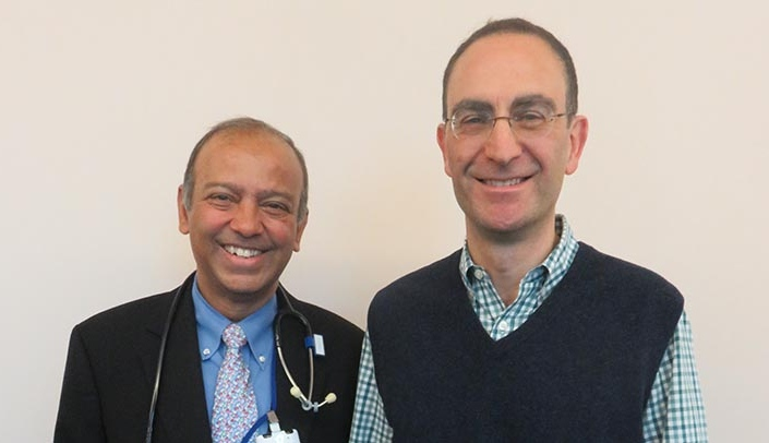 Image with caption: From left, Mohan Mysore, M.D., division chief of pediatric intensive care at Children's and UNMC, and Luca Brunelli, M.D., Ph.D., neonatologist at Children's Hospital & Medical Center and an associate professor of pediatrics-neonatology and genetics, cell biology and anatomy in the UNMC College of Medicine