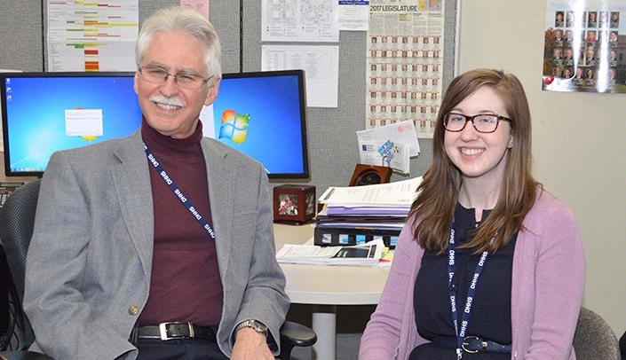 Image with caption: M.D./M.P.H. student Nora Kovar spent part of her public health semester shadowing Dr. Williams, Nebraska's chief medical officer.