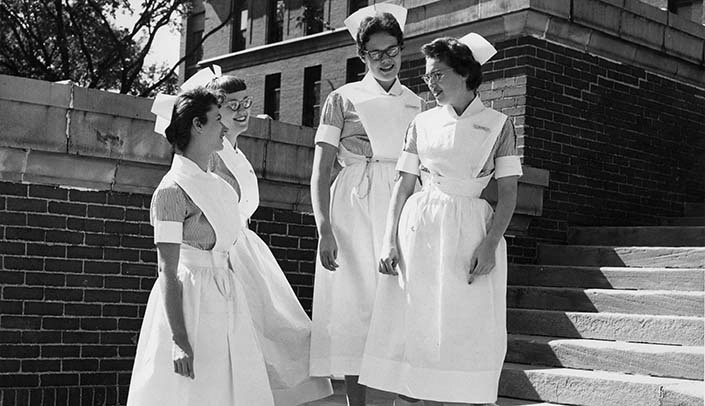 Image with caption: College of Nursing students, circa 1950.