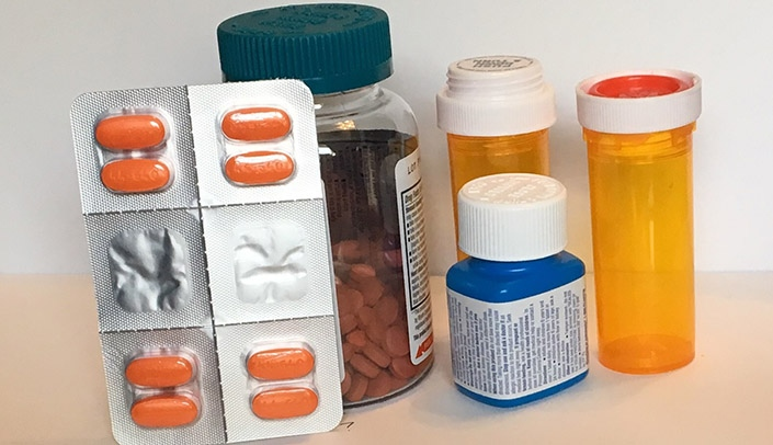 Image with caption: Medications not properly disposed of are often trashed or flushed and negatively affect the environment, animals and people downstream.
