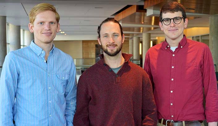 Image with caption: From left, Justin Grassmeyer, Richard Sleightholm and Jamie Gehringer