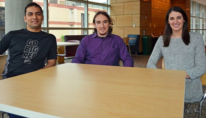 Image with caption: From left, Purdue Pharma Scholars Swagat Sharma, Eliezer Lichter and Danielle Frodyma