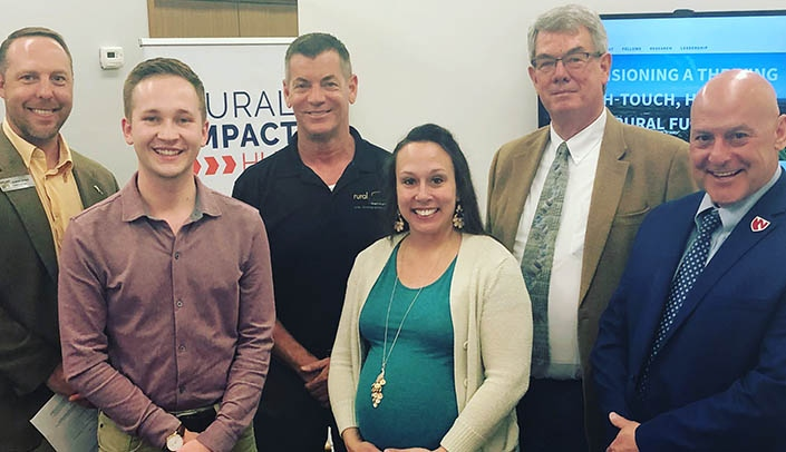 Image with caption: From left, Shawn Kaskie, fellows coordinator, Rural Futures Institute, Brent Comstock of Rural Impact Hub, Kyle Ryan, Ph.D., Athena Ramos, Ph.D., Marty Fattig and Greg Karst, Ph.D.