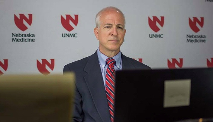 Image with caption: Mark Rupp, M.D., talks live about the study to reporters across the country through Newswise.