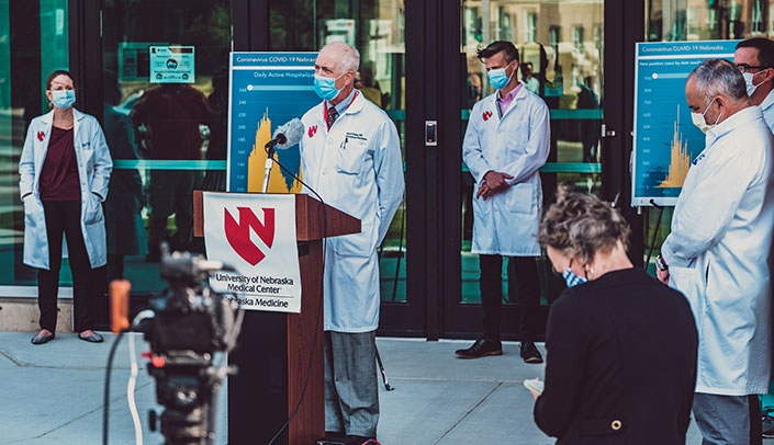 Image with caption: Mark Rupp, MD, chief of the UNMC Division of Infectious Diseases, was one of the med center experts who spoke at the Monday afternoon press conference.