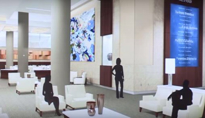 Image with caption: Work continues on the Fred & Pamela Buffett Cancer Center lobby, which will feature artwork by Brooklyn artist Suzy Taekyung Kim. Above is an artist's rendering of the lobby, featuring Kim's artwork.