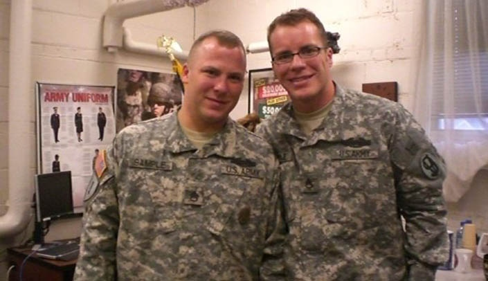 Image with caption: Jonathon Sample, left, with his brother.