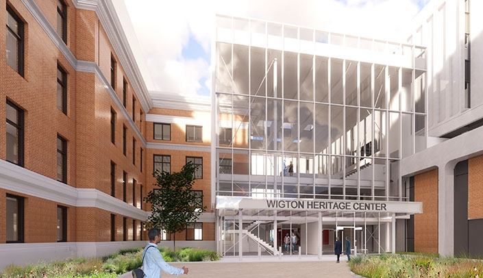 Image with caption: An artist's rendering of the Wigton Heritage Center