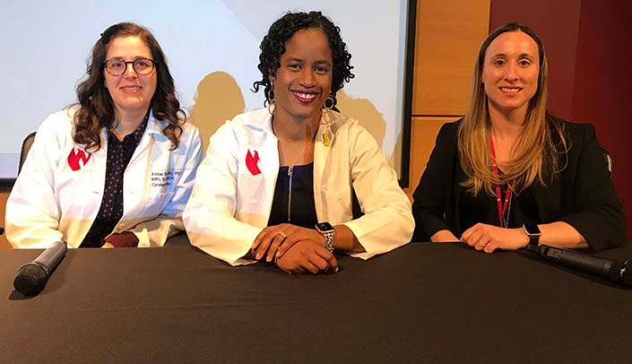 From left, Amber Donnelly, PhD, Jasmine Riviere Marcelin, MD, and Ashley Wysong, MD