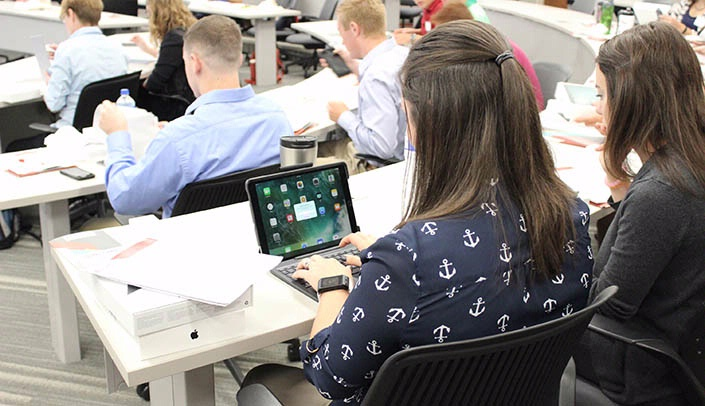 Image with caption: Pharm.D. students at the UNMC College of Pharmacy have received college-issued iPad Pros.