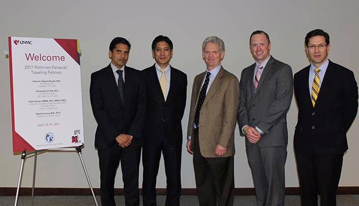 Image with caption: From left, Dr. Sujith Konan (University College Hospitals-London NHS Trust in London, UK), Dr. Takahito Yuasa (Juntendo University Urayasu Hospital in Urayasu, Japan), Dr. Kevin Garvin (chair, orthopaedic surgery, UNMC, and president, The Hip Society), Dr. Christopher Pelt (University of Utah, Salt Lake City), and Carlos Higuera-Rueda (Cleveland Clinic, Cleveland).
