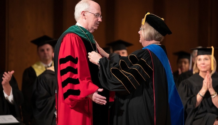 Image with caption: Chancellor Jeffrey P. Gold, M.D., left, and Susan Fritz, Ph.D., interim president of the University of Nebraska, at Thursday's event.