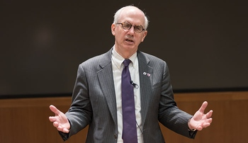 Image with caption: Chancellor Jeffrey P. Gold, M.D., speaks at Tuesday's forum.