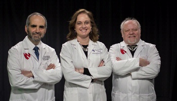Image with caption: The three key people on the Phase I clinical trial were (left-right) Howard Gendelman, M.D., Pamela Santamaria, M.D., and R. Lee Mosley, Ph.D.