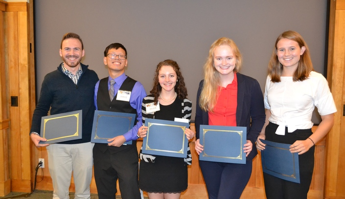 Image with caption: Winner of the oral presentation pictured left to right are: Tyler Rollman, Andrew Pham, Mika Caplan, Molly Myers and Eilidh Chowanec