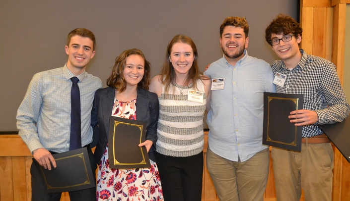 Image with caption: Oral presentation winners pictured left to right are - Diego Gomez, Rebekah Rapoza, Taylor Burke, Joshua Lindenberger and Elias Smith.