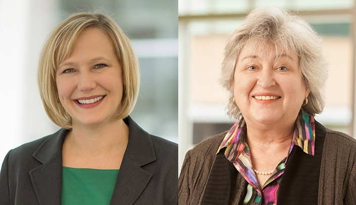 Image with caption: Susan Swindells, M.B.B.S., and Kimberly Scarsi, Pharm.D.