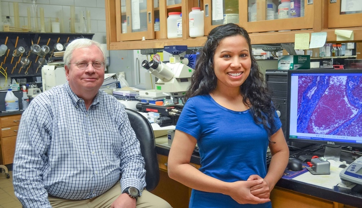 Image with caption: James Talmadge, Ph.D. (left) and Saraswoti Khadge.