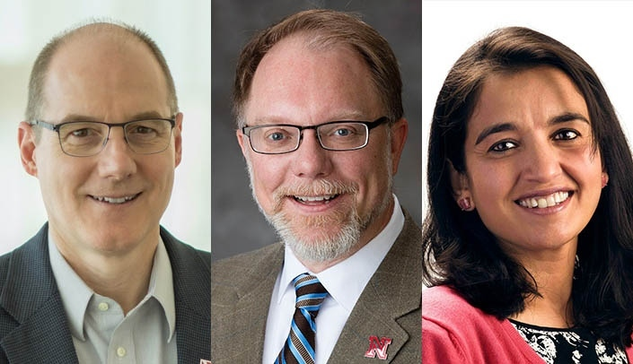 Image with caption: From left, Ken Bayles, Ph.D., of UNMC; Mark Riley, Ph.D., of the University of Nebraska-Lincoln; and Harshini Mukundan, Ph.D., of Los Alamos National Laboratory.